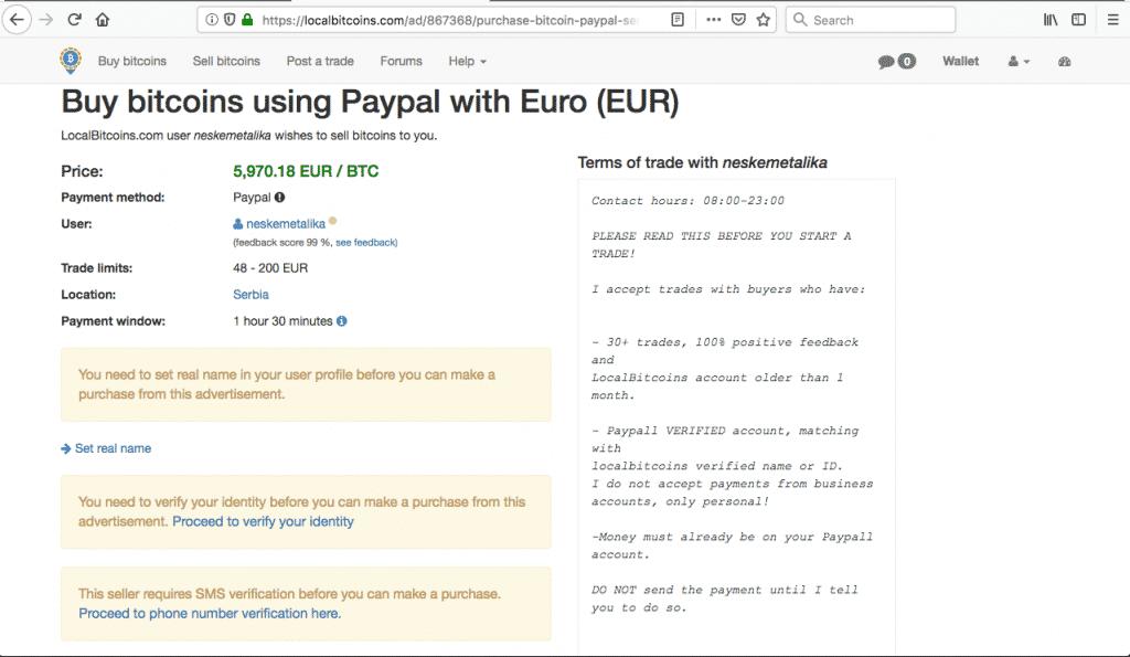 Localbitcoin achat paypal