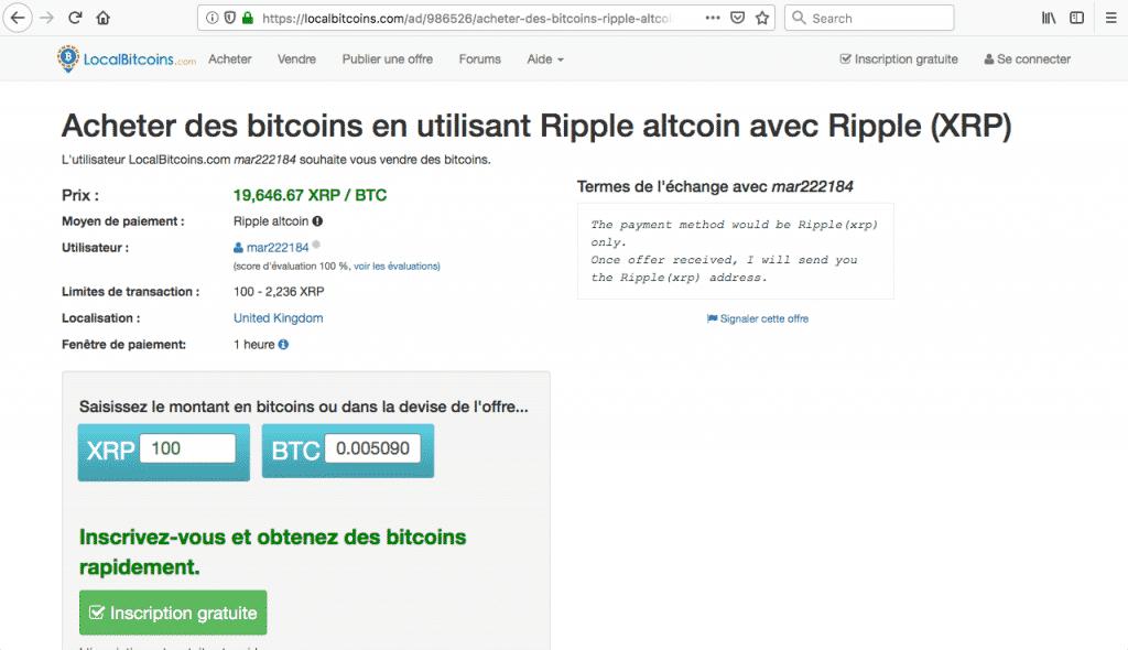 Localbitcoin achat ripple