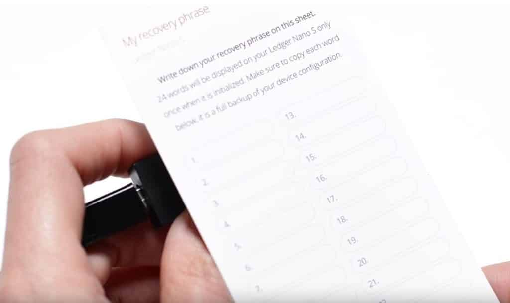 Ledger Nano - Transcription des mots de passe