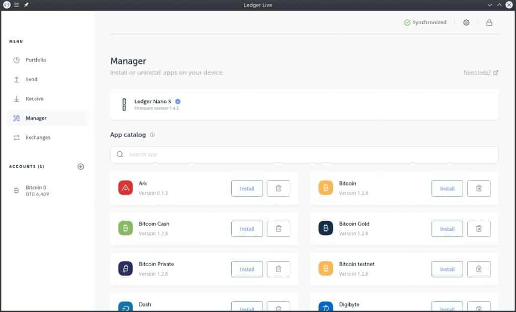 Ledger Nano - ledger Manager 2